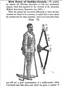 """Image of a description and illustration of the """"Saddle Crutch"""" from Canadiana.org."""
