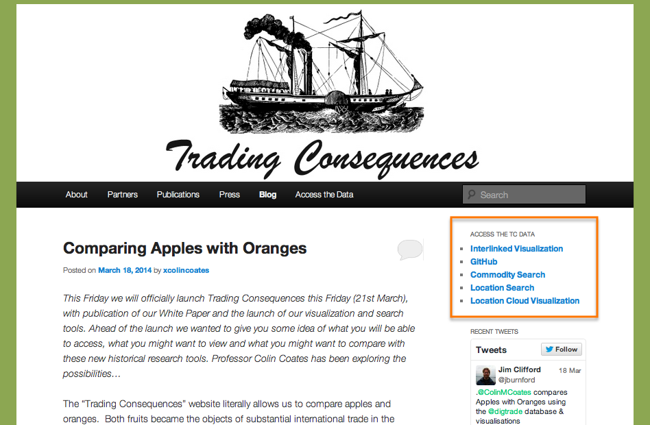 Find the Trading Consequences searches, visualizations and code via the panel on the top right hand side of the project website (outlined in orange).